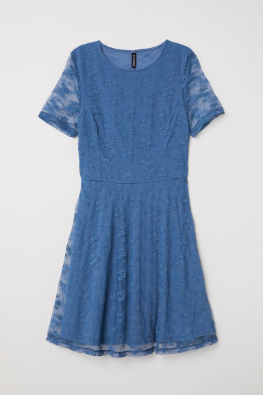 Short lace dress - Blue -  | H&M CN