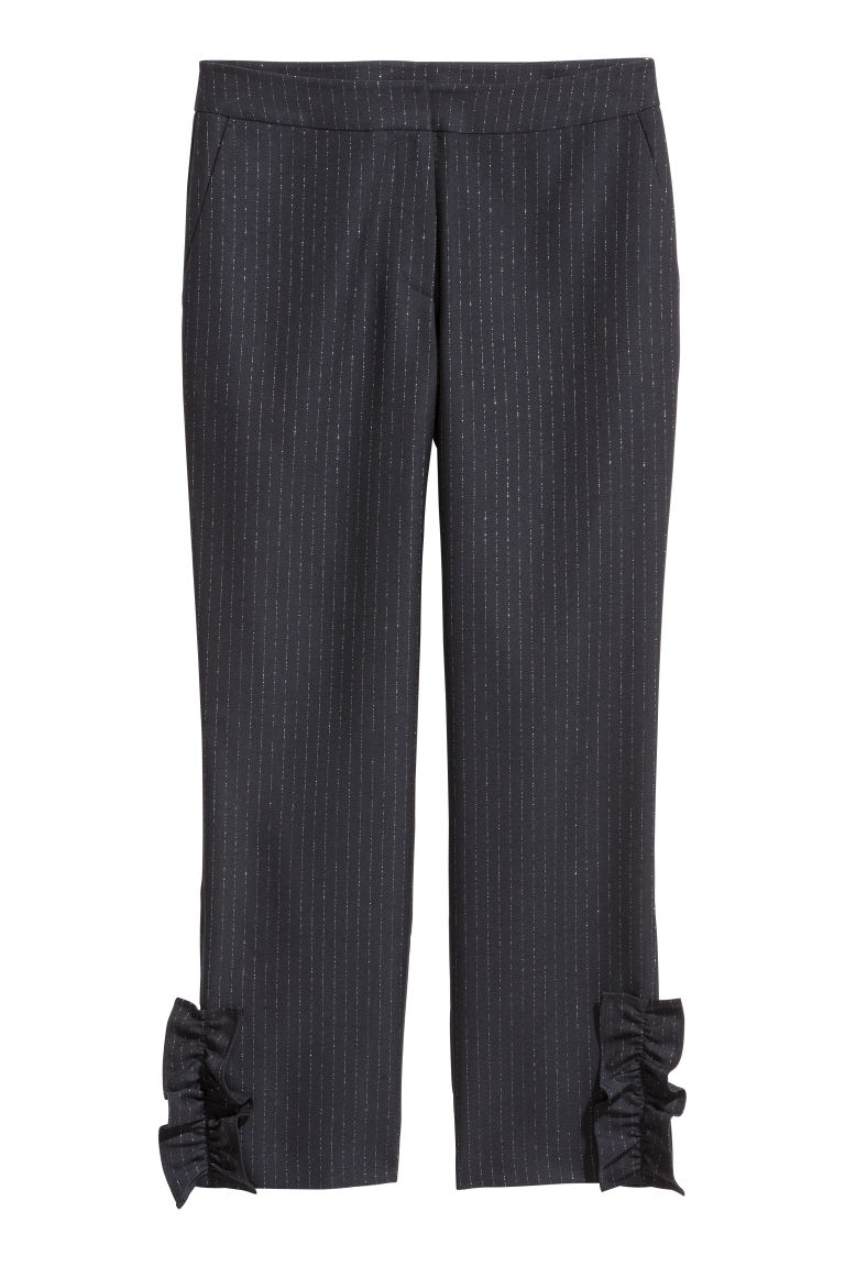 Frilled trousers - Dark blue/Silver-coloured - Ladies | H&M CN