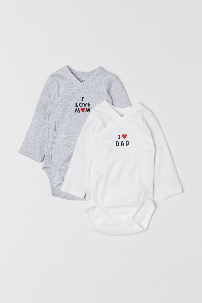 2-pack wrapover bodysuits - White/I Love - Kids | H&M