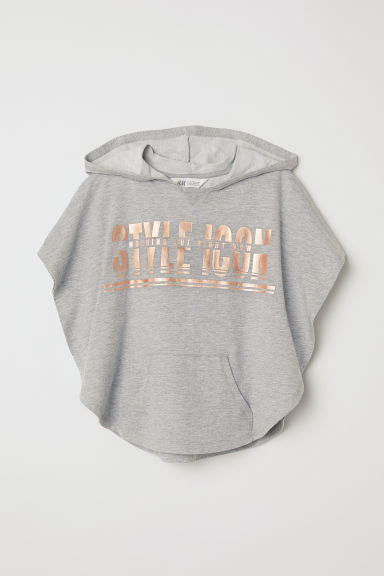 Hooded poncho - Grey marl - Kids | H&M