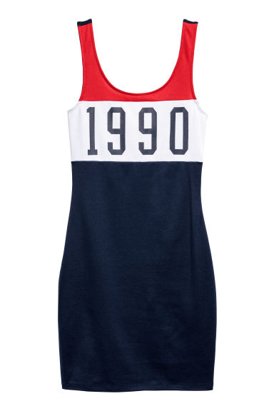 Sleeveless jersey dress - Dark blue/Block-coloured - Ladies | H&M CN