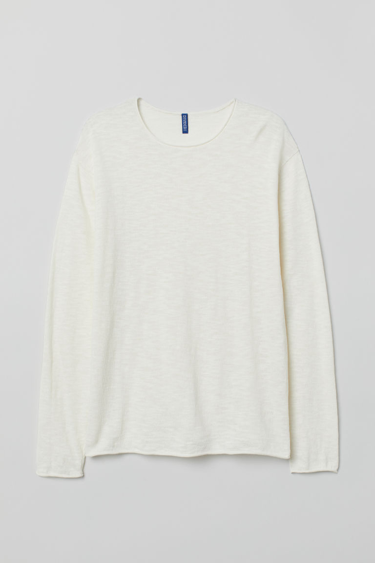 Slub-knit jumper - Natural white - Men | H&M