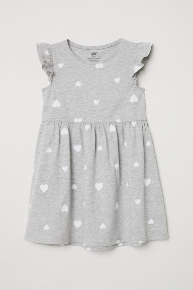 Cotton dress - Light grey/Hearts - Kids | H&M