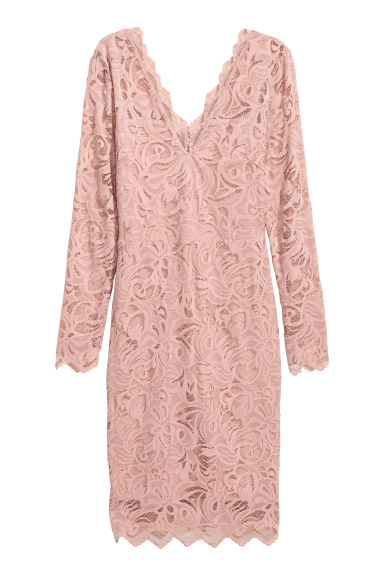 Fitted lace dress - Powder pink - Ladies | H&M