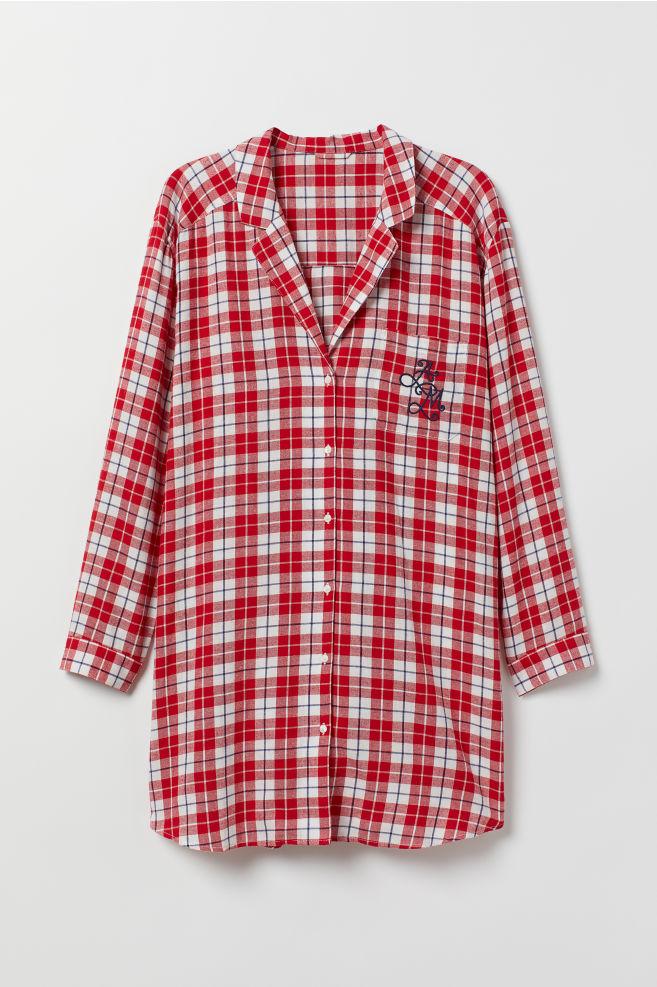 4d741ddb H&M+ Nattskjorte i flanell - Rød/Rutet - DAME | H&M ...