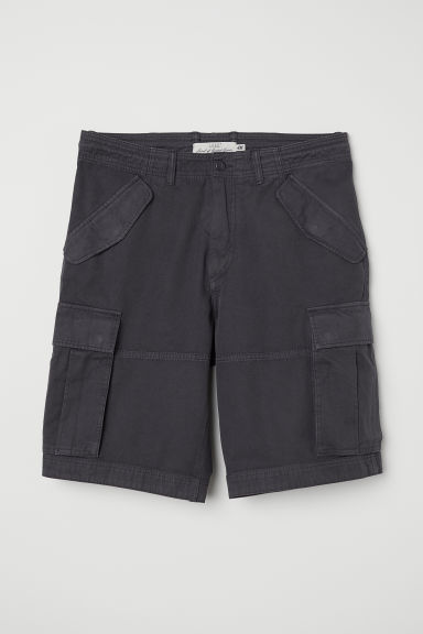 Cotton twill cargo shorts - Dark grey -  | H&M