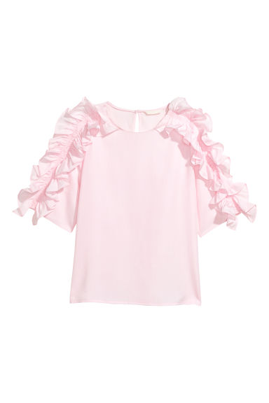 Frilled blouse - Light pink -  | H&M