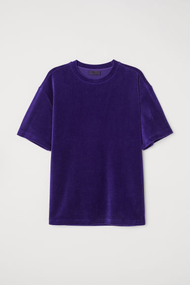 Velour T-shirt - Dark purple -  | H&M