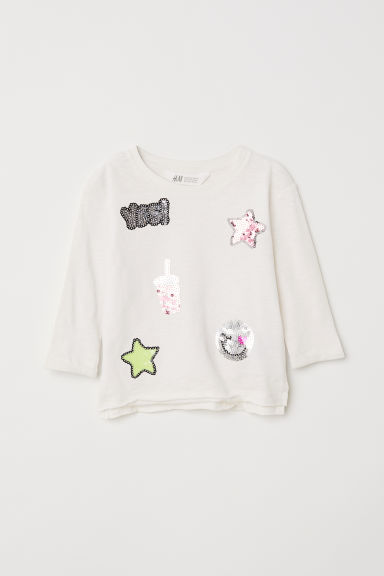 Jersey top with sequins - Natural white/Stars -  | H&M CN