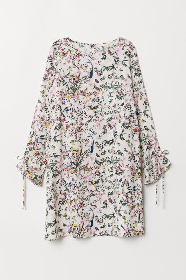 Flounce-sleeved dress - Natural white/Floral - Ladies | H&M CN