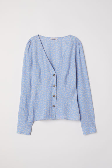 Puff-sleeved blouse - Light blue/Floral - Ladies | H&M CN