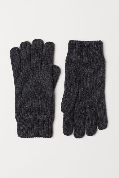 Knitted wool-blend gloves - Dark grey marl - Men | H&M CN