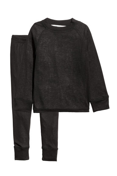 Ribbed jersey base layer set - Black -  | H&M