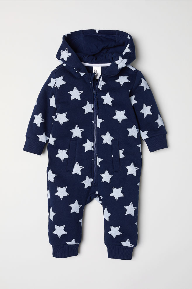 eba6251d464f Mönstrad sweatshirtoverall - Mörkblå/Stjärnor - BARN | H&M ...