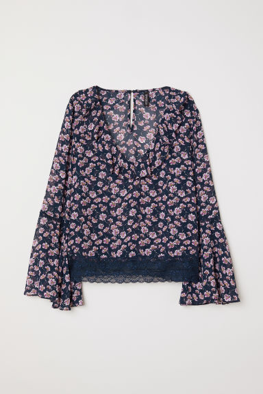 V-neck blouse - Dark blue/Floral - Ladies | H&M CN