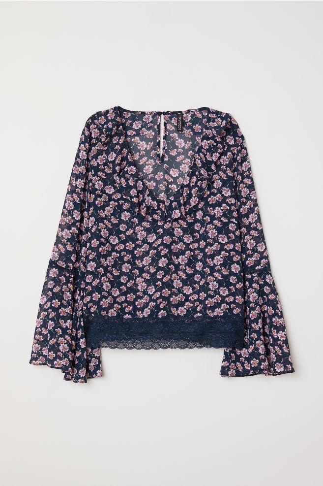 606e78475c6d6 V-neck blouse - Dark blue Floral -