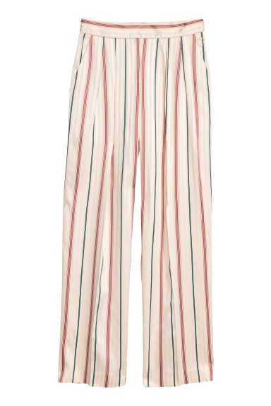 Pantaloni ampi - Crema/righe - DONNA | H&M IT