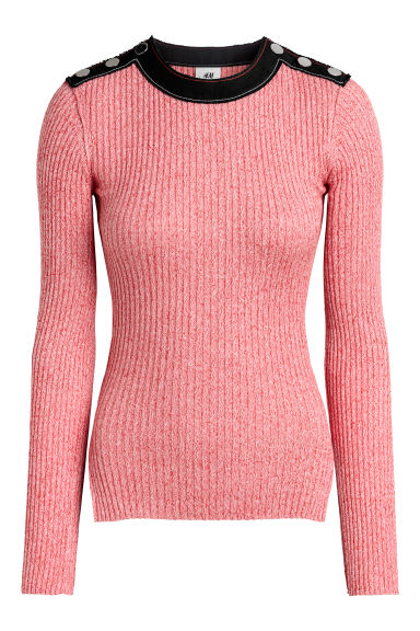 Ribbed top - Red marl - Ladies | H&M CN