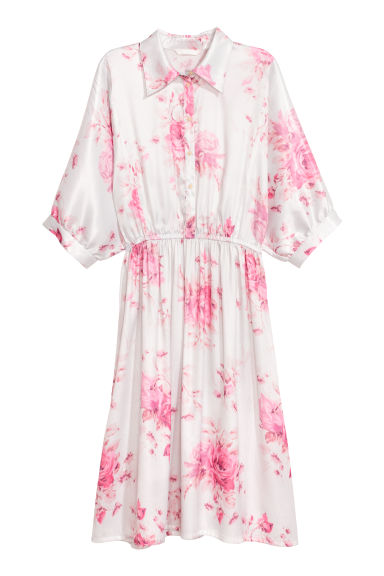 Satin shirt dress - White/Pink patterned - Ladies | H&M