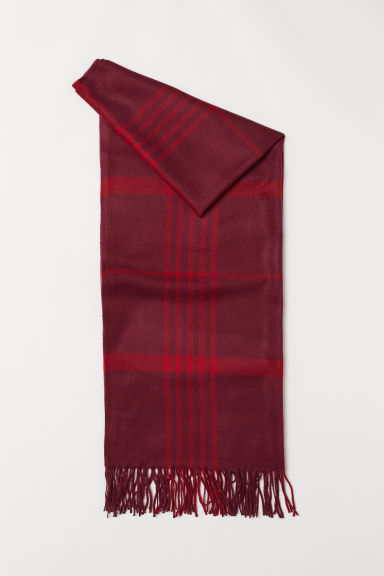 Woven scarf - Burgundy/Checked - Ladies | H&M