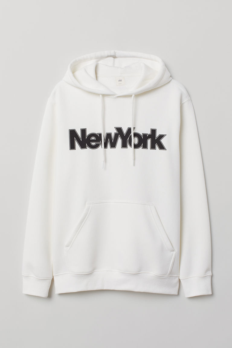 Sweat-shirt à capuche imprimé - Blanc/New York - HOMME | H&M BE