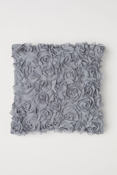 Chiffon flower cushion cover - Light grey - Home All | H&M GB