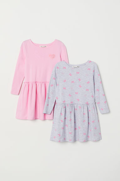 2-pack jersey dresses - Grey/Pink - Kids | H&M