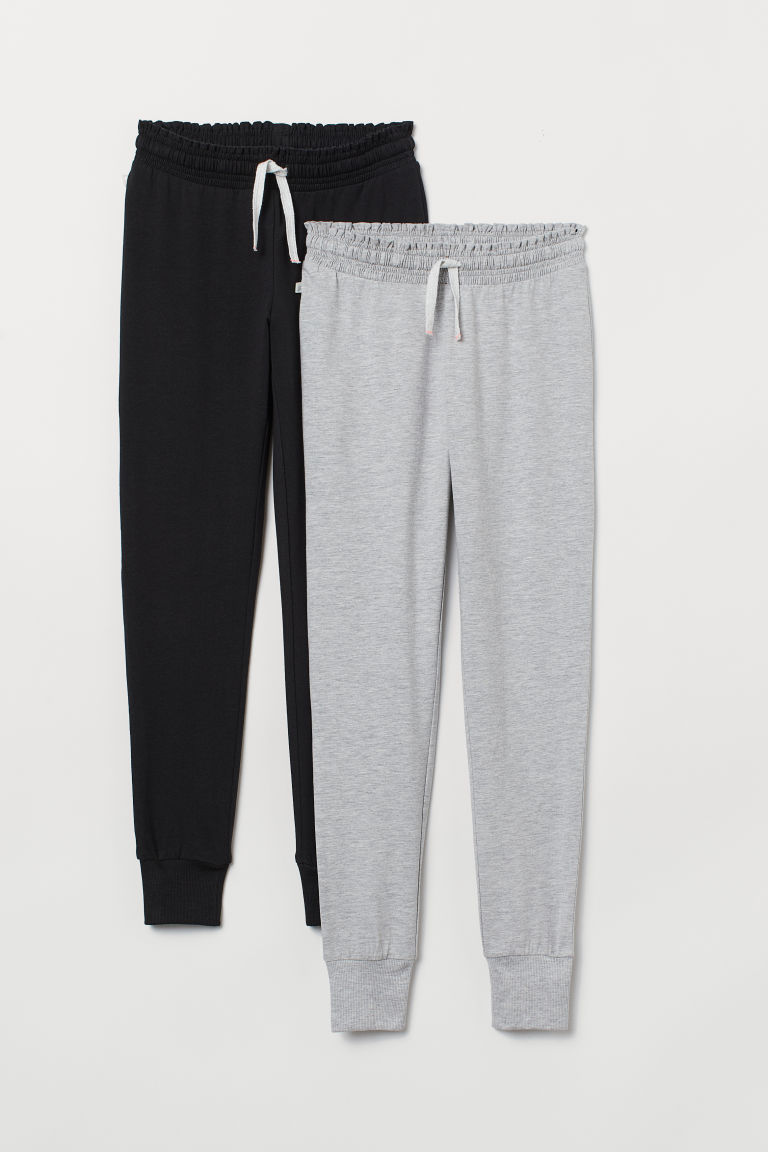 2-pack joggers - Grey marl/Black - Kids | H&M