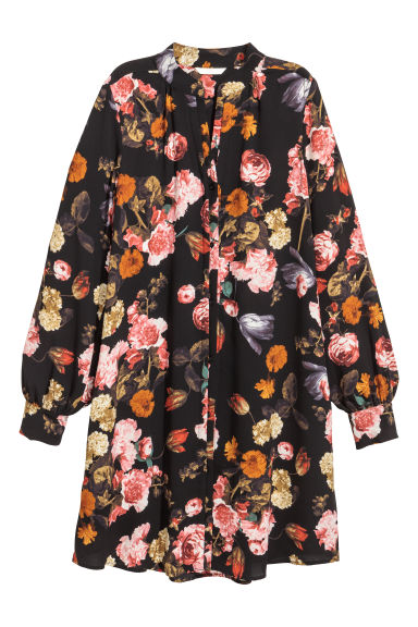Crêpe dress - Black/floral -  | H&M IE