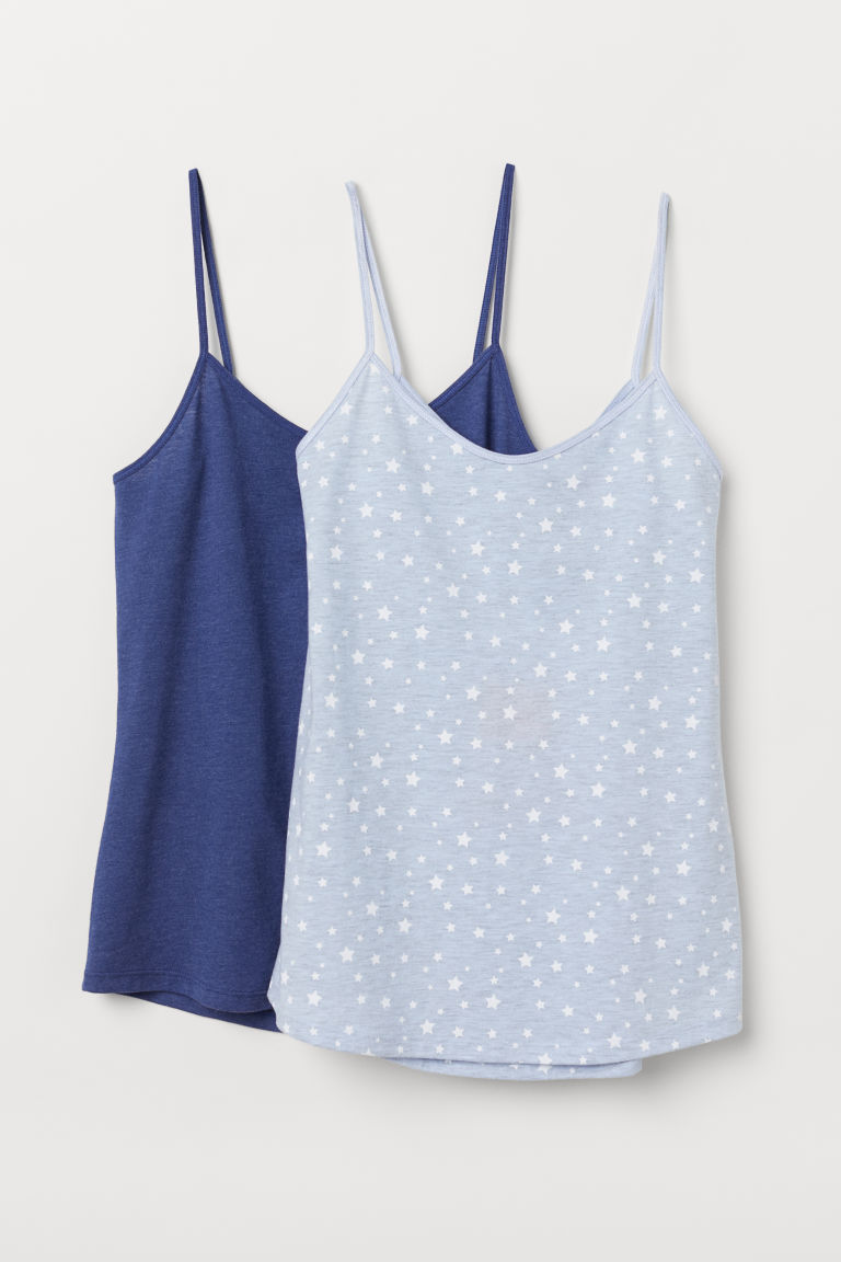 2-pack jersey strappy tops - Light blue/Stars - Ladies | H&M
