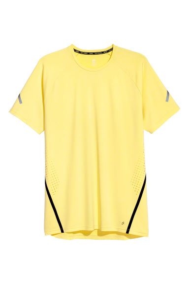 Short-sleeved running top - Light yellow - Men | H&M