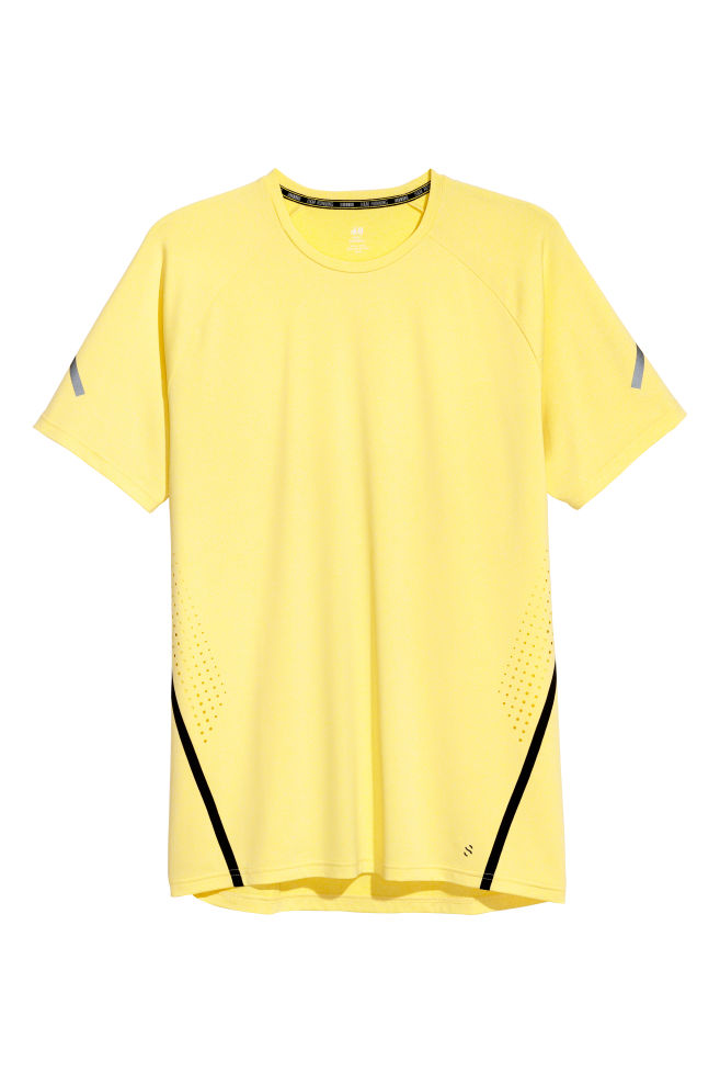 14ccba5ccdfd83 Short-sleeved running top - Light yellow - Men | H&M ...