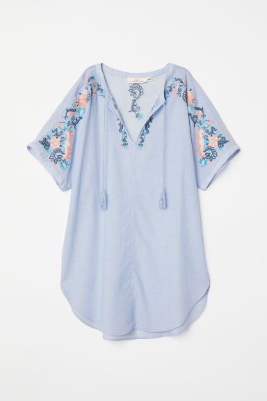 Tunic with embroidery - Light blue/Flowers - Ladies | H&M
