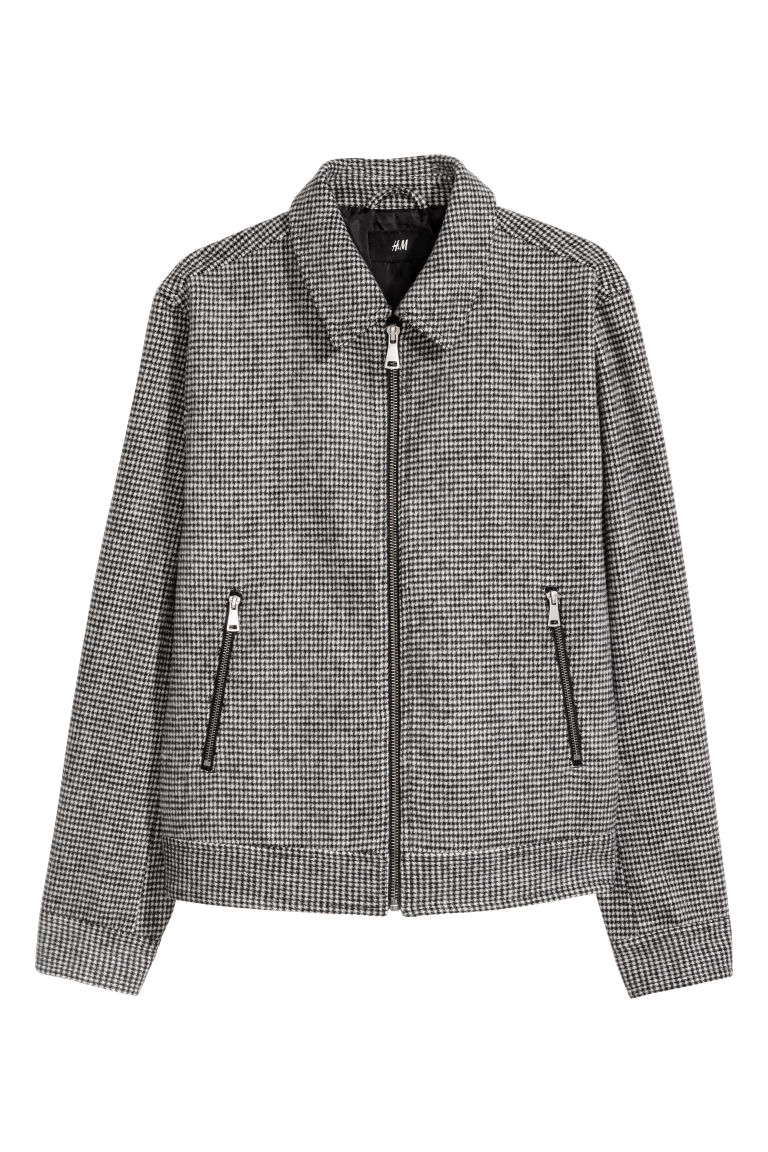 Dogtooth-patterned jacket - White/Dogtooth - Men | H&M CN