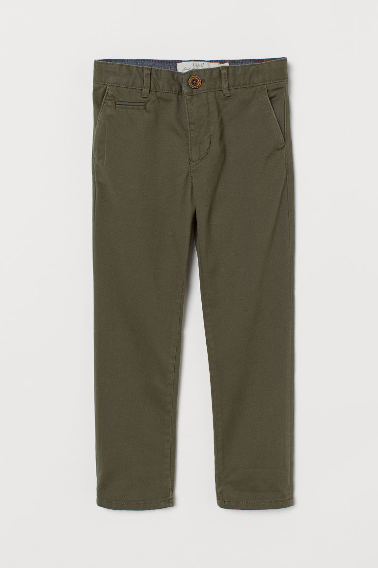 Cotton Chinos - Dark khaki green - Kids | H&M CA