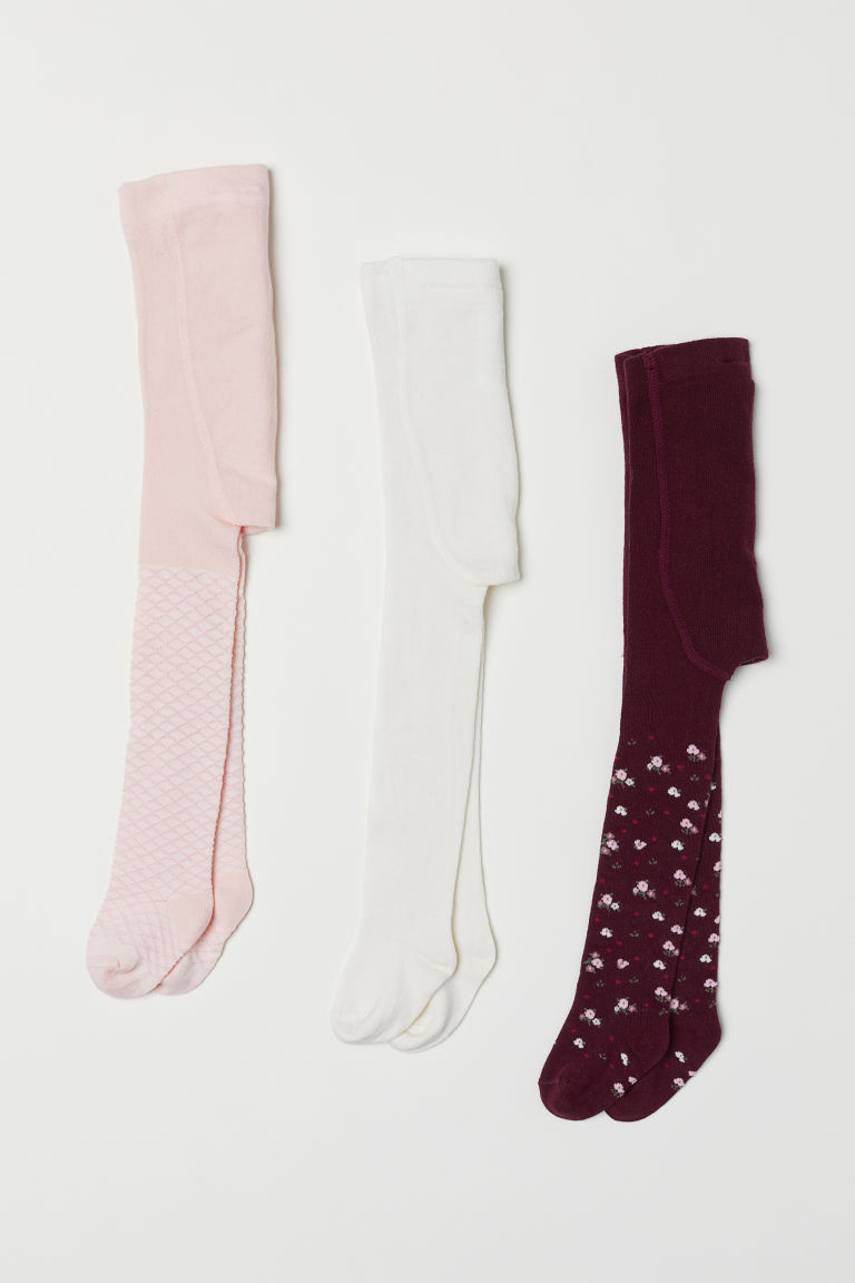 3-pack tights - Plum/Floral - Kids | H&M