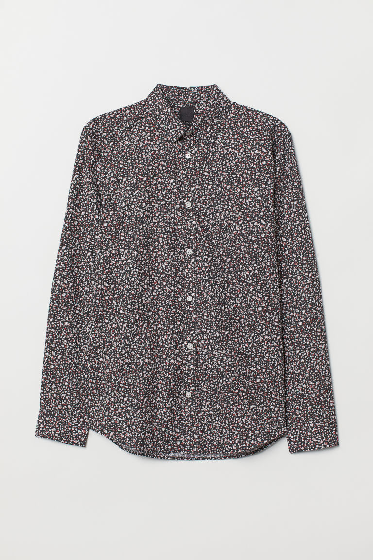 Camicia easy-iron Slim fit - Nero/fantasia - UOMO | H&M IT