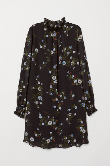 Dress with smocking - Black/Patterned - Ladies | H&M CN