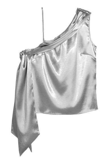 Shimmering metallic top - Silver-coloured -  | H&M IE