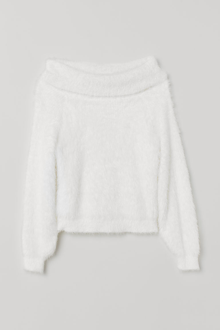 Fluffy jumper - White - Ladies | H&M