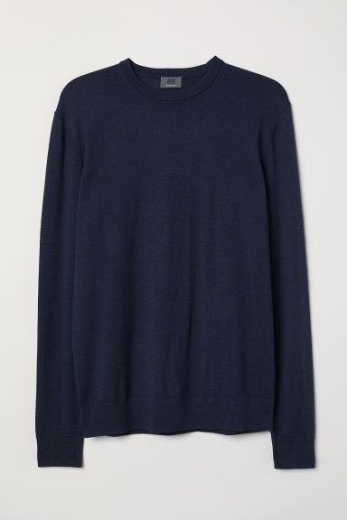 Merino wool jumper - Dark blue - Men | H&M