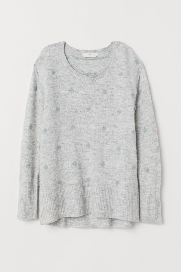 Knitted jumper - Light grey marl/Green spotted - Ladies | H&M