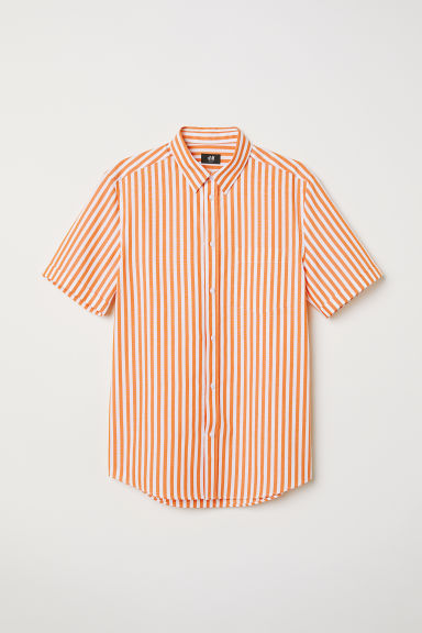 Short-sleeved shirt Slim fit - Orange/White striped - Men | H&M CN