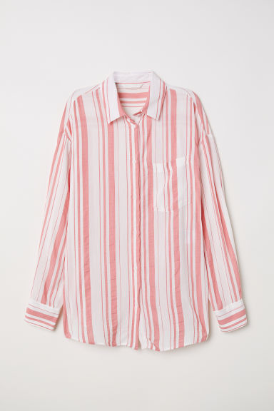 Viscose-blend shirt - White/Pink striped - Ladies | H&M