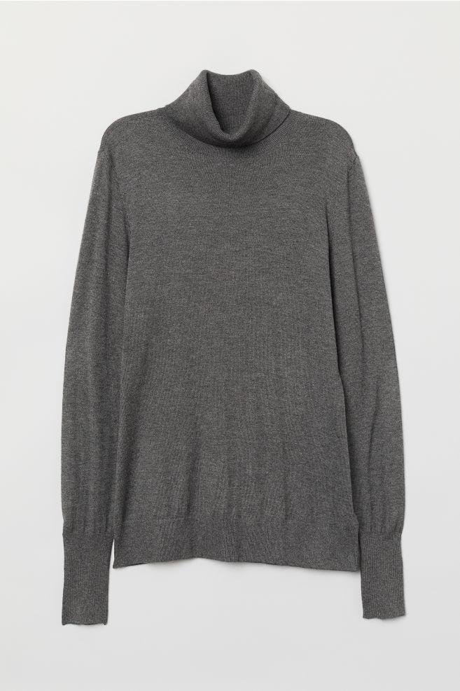 22c7fb63d Fine-knit Turtleneck Sweater - Dark gray melange - Ladies