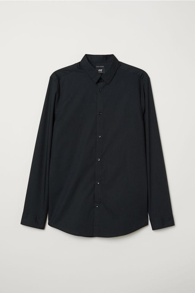 902aaa9b8d49 Easy-iron Shirt Slim fit - Black - Men | H&M ...