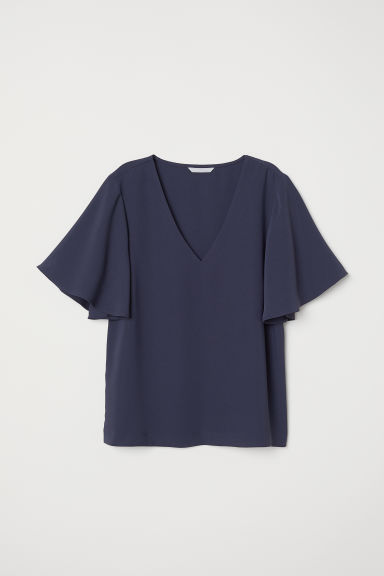 Wide-sleeved blouse - Dark blue - Ladies | H&M