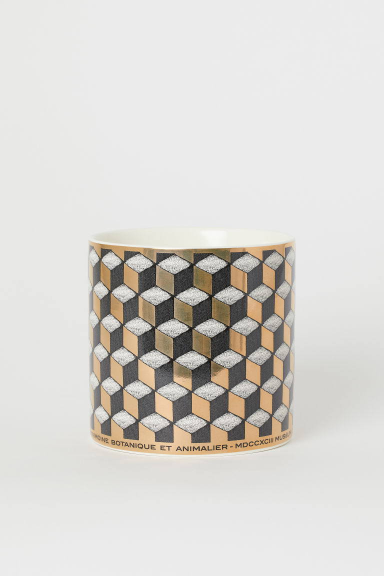 Porcelain Plant Pot - Black/gold-colored pattern - Home All | H&M US
