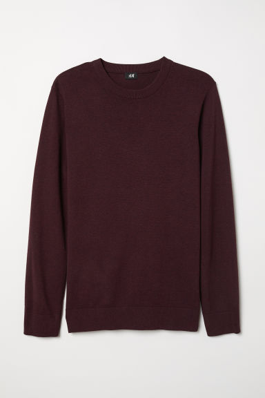 Fine-knit jumper - Burgundy marl - Men | H&M