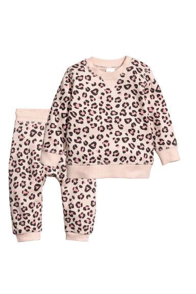 Sweatshirt and trousers - Light pink/Leopard print - Kids | H&M IE